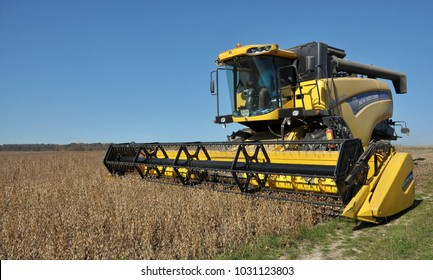 """Chortkiv - Ternopil - Ukraine - October 18, 2017. Beginning of soybean harvest using a powerful combine harvester in the agrarian company """"Nichlava"""""""