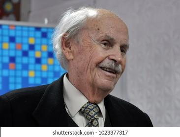 Chortkiv - Ternopil - Ukraine - October 22, 2014 Famous Ukrainian, Canadian, Swiss economist, social activist Bogdan Havrylyshyn at a gymnasium in Chortkiv, where he once studied