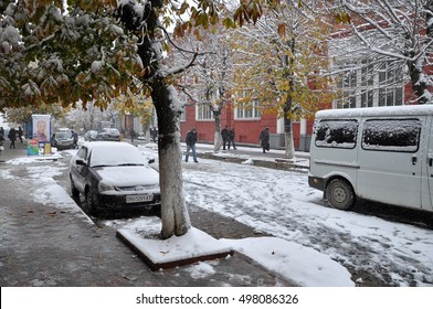 Chortkiv - Ternopil - Ukraine - October 24, 2014. Chortkiv suddenly and too soon the first snow fell. Later he quickly melted.