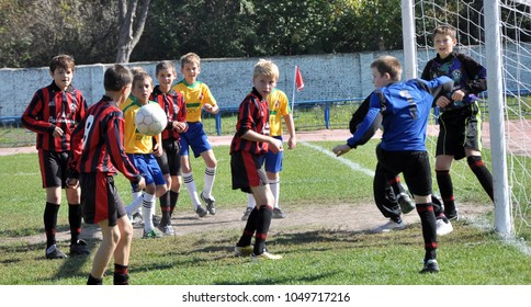 Chortkiv - Ternopil - Ukraine - September 29, 2012. A training game for football on one goal between the children's teams of the sports school in Chortkiv before the adult tournament