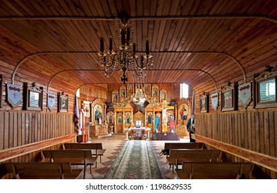 CHORTKIV, UKRAINE - MARCH 31 2018: The wooden interior of the Church of the Ascension in Chortkiv town of Ternopil region, Ukraine at the March 31 2018