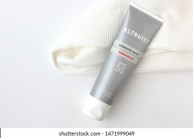 Chorzow, Poland - August 5, 2019: Altruist sunscreen. Altruist is a British brand of sunscreed develeoped by dermatologist Dr Andrew Birnie.