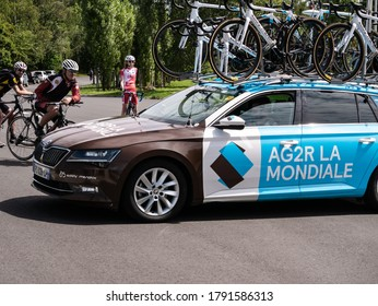 CHORZOW, POLAND - AUGUST 5, 2020: AG2R La Mondiale road cycling team arriving at Silesian Stadium (Slaski Stadium) in Chorzow before 77. Tour de Pologne bicycle stage race.