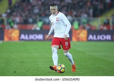 CHORZOW, POLAND - MARCH 27, 2018: football friendly game: Poland - South Korea o/p Piotr Zielinski
