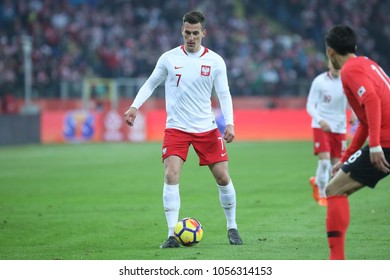CHORZOW, POLAND - MARCH 27, 2018: football friendly game: Poland - South Korea o/p Arkadiusz Milik