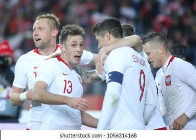 CHORZOW, POLAND - MARCH 27, 2018: football friendly game: Poland - South Korea o/p Kamil Glik, Maciej Rybus, Kamil Grosicki, Robert Lewandowski