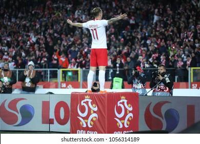 CHORZOW, POLAND - MARCH 27, 2018: football friendly game: Poland - South Korea o/p Kamil Grosicki goal
