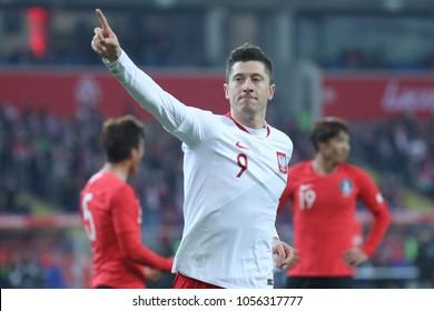 CHORZOW, POLAND - MARCH 27, 2018: football friendly game: Poland - South Korea o/p Robert Lewandowski goal