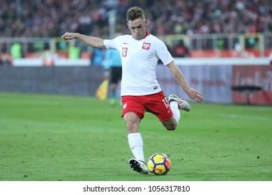 CHORZOW, POLAND - MARCH 27, 2018: football friendly game: Poland - South Korea o/p Maciej Rybus