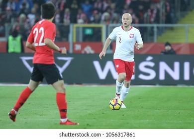 CHORZOW,  POLAND - MARCH 27, 2018: football friendly game: Poland - South Korea o/p Michal Pazdan