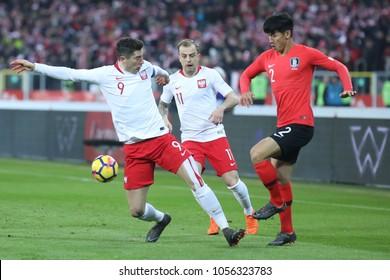 CHORZOW, POLAND - MARCH 27, 2018: football friendly game: Poland - South Korea o/p Robert Lewandowski, Kamil Grosicki, Yong Lee