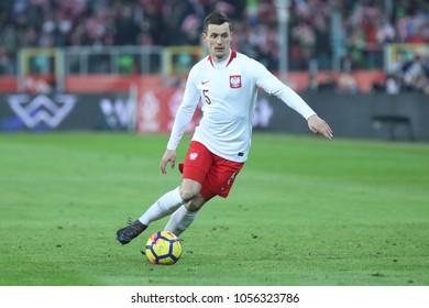 CHORZOW, POLAND - MARCH 27, 2018: football friendly game: Poland - South Korea o/p Krzysztof Maczynski