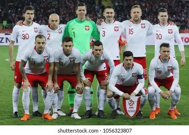 CHORZOW, POLAND - MARCH 27, 2018: football friendly game: Poland - South Korea o/p Polish team
