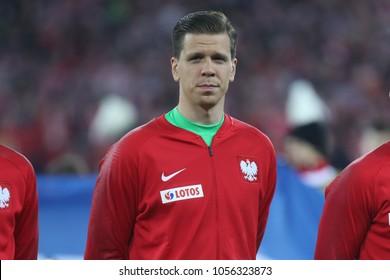 CHORZOW, POLAND - MARCH 27, 2018: football friendly game: Poland - South Korea o/p Wojciech Szczesny