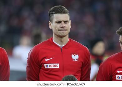 CHORZOW, POLAND - MARCH 27, 2018: football friendly game: Poland - South Korea o/p Lukasz Piszczek