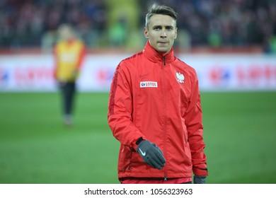 CHORZOW, POLAND - MARCH 27, 2018: football friendly game: Poland - South Korea o/p Przemyslaw Frankowski