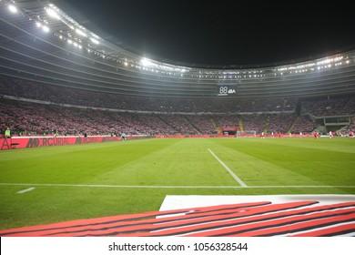 CHORZOW, POLAND - MARCH 27, 2018: football friendly game: Poland - South Korea o/p Stadium - Stadion Slaski