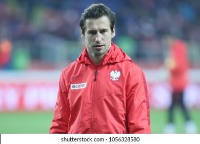 CHORZOW, POLAND - MARCH 27, 2018: football friendly game: Poland - South Korea o/p Grzegorz Krychowiak
