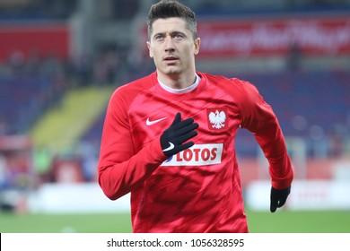CHORZOW, POLAND - MARCH 27, 2018: football friendly game: Poland - South Korea o/p Robert Lewandowski