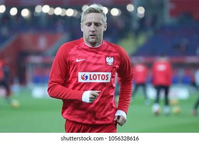 CHORZOW, POLAND - MARCH 27, 2018: football friendly game: Poland - South Korea o/p Kamil Glik