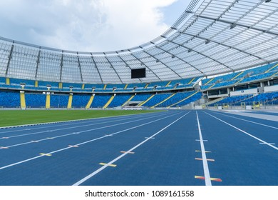 CHORZOW, POLAND - MAY 9; 2018: athletics track at Silesian Stadium multifunctional arena adapted to football matches, athletics and speedway. The second largest stadium in Poland.