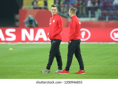 CHORZOW, POLAND - OCTOBER 11, 2018: UEFA Nations League 2019: Poland - Portugal o/p Arkadiusz Milik