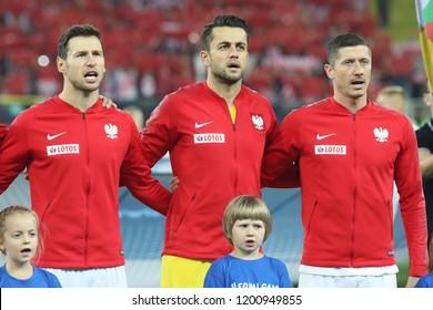 CHORZOW, POLAND - OCTOBER 11, 2018: UEFA Nations League 2019: Poland - Portugal o/p Grzegorz Krychowiak, Lukasz Fabianski, Robert Lewandowski