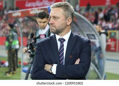 CHORZOW, POLAND - OCTOBER 11, 2018: UEFA Nations League 2019: Poland - Portugal o/p Jerzy Brzeczek