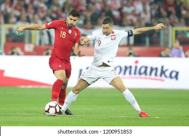 CHORZOW, POLAND - OCTOBER 11, 2018: UEFA Nations League 2019: Poland - Portugal o/p Robert Lewandowski, Ruben Neves