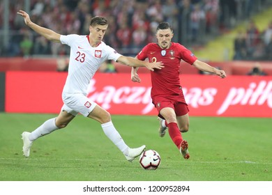 CHORZOW, POLAND - OCTOBER 11, 2018: UEFA Nations League 2019: Poland - Portugal o/p Krzysztof Piatek
