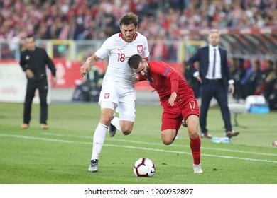 CHORZOW, POLAND - OCTOBER 11, 2018: UEFA Nations League 2019: Poland - Portugal o/p Rafa Silva, Bartosz Bereszynski, Rafa Silva