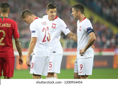 CHORZOW, POLAND - OCTOBER 11, 2018: UEFA Nations League 2019: Poland - Portugal o/p Krzysztof Piatek, Robert Lewandowski, Jan Bednarek