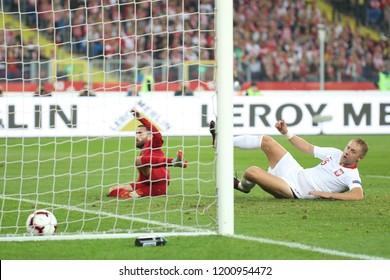 CHORZOW, POLAND - OCTOBER 11, 2018: UEFA Nations League 2019: Poland - Portugal o/p Rafa Silva, Kamil Glik