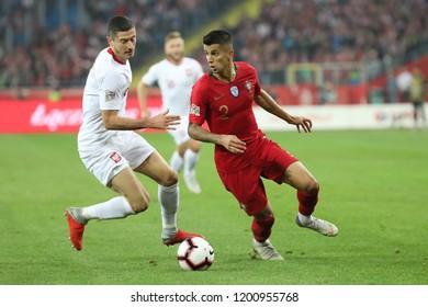 CHORZOW, POLAND - OCTOBER 11, 2018: UEFA Nations League 2019: Poland - Portugal o/p Joao Cancelo, Robert Lewandowski