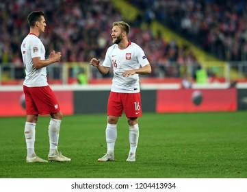 CHORZOW, POLAND - OCTOBER 14, 2018: UEFA Nations League Poland and Italyo/p: Arkadiusz Milik (Poland) Arkadiusz Milik (Poland)