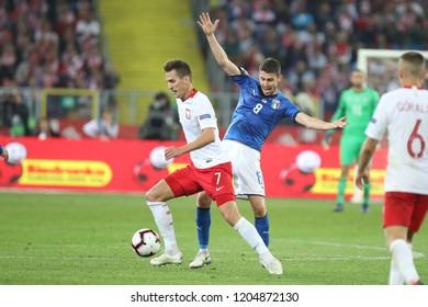 CHORZOW, POLAND - OCTOBER 14, 2018: UEFA Nations League 2019: Poland - Italy o/p Arkadiusz Milik, Jorginho