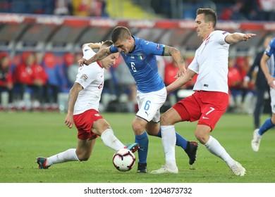 CHORZOW, POLAND - OCTOBER 14, 2018: UEFA Nations League 2019: Poland - Italy o/p Marco Veratti, Jacek Goralski, Arkadiusz Milik