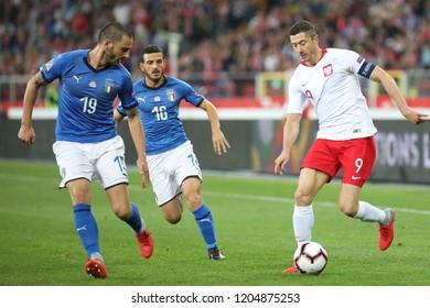 CHORZOW, POLAND - OCTOBER 14, 2018: UEFA Nations League 2019: Poland - Italy o/p Robert Lewandowski, Leonardo Bonucci, Lorenzo Insigne