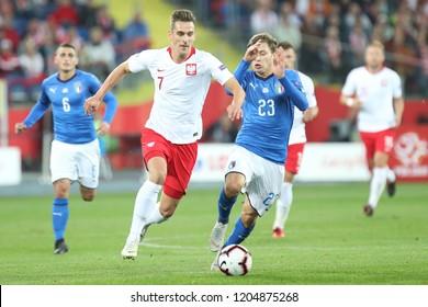 CHORZOW, POLAND - OCTOBER 14, 2018: UEFA Nations League 2019: Poland - Italy o/p Arkadiusz Milik, Nicolo Barella