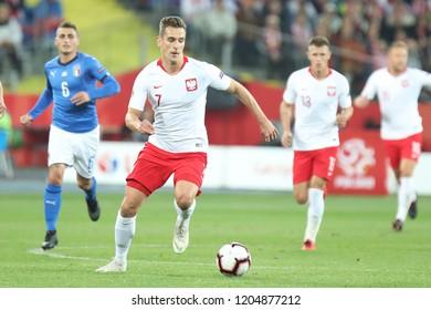 CHORZOW, POLAND - OCTOBER 14, 2018: UEFA Nations League 2019: Poland - Italy o/p Arkadiusz Milik