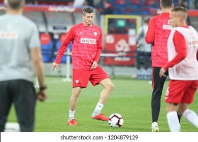 CHORZOW, POLAND - OCTOBER 14, 2018: UEFA Nations League 2019: Poland - Italy o/p Robert Lewandowski