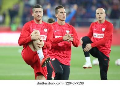 CHORZOW, POLAND - OCTOBER 14, 2018: UEFA Nations League 2019: Poland - Italy o/p Robert Lewandowski, Arkadiusz Milik