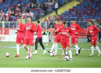 CHORZOW, POLAND - OCTOBER 14, 2018: UEFA Nations League 2019: Poland - Italy o/p Robert Lewandowski, Damian Szymanski, Jacek Goralski