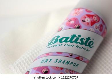 Chorzow, Poland - October 3, 2019: Closeup of Batiste dry shampoo. Batiste is a brand of dry shampoo owned by Church & Dwight.