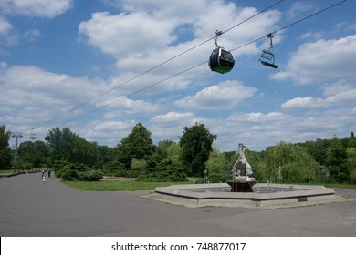 CHORZOW/POLAND - JUNE 12. 2016. Ropeway Elka at Silesia park. Poland