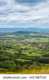 Chosen Hill viewed from Leckhampton Hill (part of The Cotswold Way) Cheltenham, Gloucestershire UK