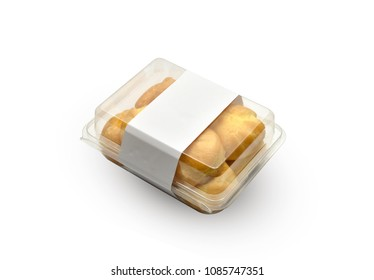 Choux pastry in box is isolated on a white background