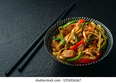 Chow mein with chicken, Chinese dish.