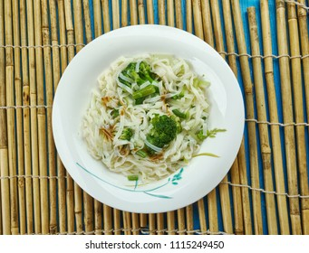 Chowmein - traditional Chinese  stir-fried noodles.  popular on Chinese-American restaurant menus.