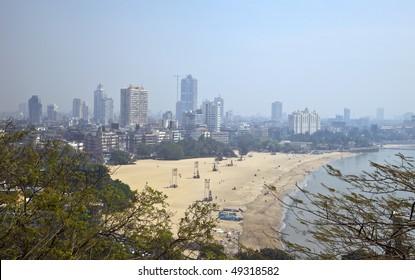 Chowpatty Beach - Mumbai, India. Skyline of Mumbai. Photo taken with a wide-angle lens.